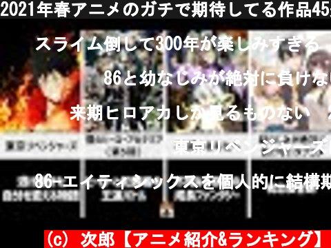 2021年春アニメのガチで期待してる作品45選  (c) 次郎【アニメ紹介&ランキング】