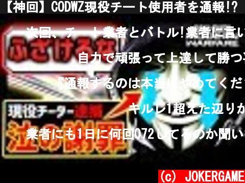 【神回】CODWZ現役チート使用者を通報!?『タイガー泣いて謝罪の最終回!』(衝撃の実年齢w)【MW/FPS/実況】  (c) JOKERGAME