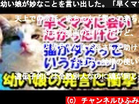 幼い娘が妙なことを言い出した。「早くママに会いたかったけど、猫がダメっていうから…」【猫の不思議な話】【朗読】  (c) チャンネルひふみ