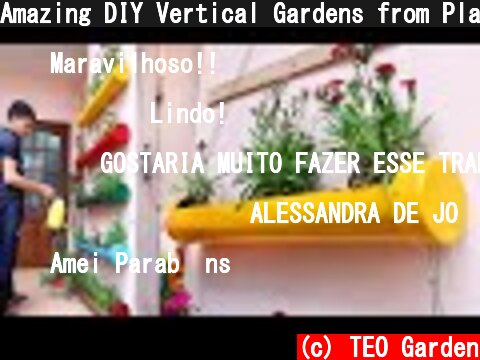 Amazing DIY Vertical Gardens from Plastic Pipes for Small Garden and Balcony  (c) TEO Garden