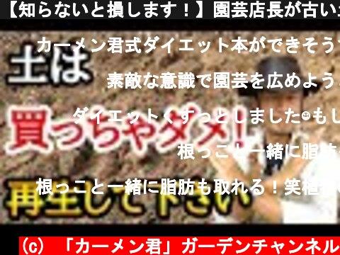 【知らないと損します!】園芸店長が古い土のリサイクル方法を教えます!一度使った土を再生させて植物を元気に育てることができます。ガーデニング初心者必見!ダイエット効果も  japan garden  (c) 「カーメン君」ガーデンチャンネル