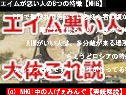 エイムが悪い人の8つの特徴【NHG】  (c) NHG:中の人げぇみんぐ【実銃解説】