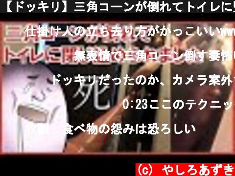 【ドッキリ】三角コーンが倒れてトイレに監禁された男の必死の脱出劇~外カメラver~  (c) やしろあずき