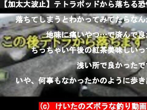 【加太大波止】テトラポッドから落ちる恐怖映像  (c) けいたのズボラな釣り動画