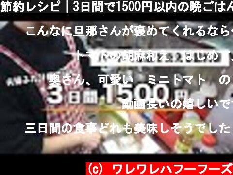 節約レシピ|3日間で1500円以内の晩ごはん作り|購入食材の紹介|夫婦ふたり暮らし  (c) ワレワレハフーフーズ