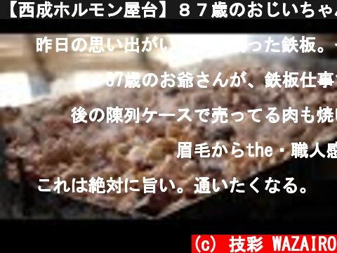 【西成ホルモン屋台】87歳のおじいちゃんが作る一日40Kg売れる屋台ホルモン Japanese street Foods Horumon ASMR in Nishinari  (c) 技彩 WAZAIRO