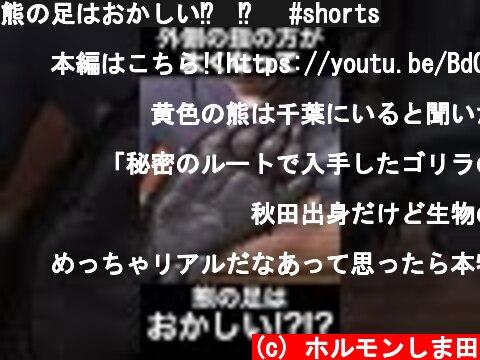 熊の足はおかしい⁉︎⁉︎ #shorts  (c) ホルモンしま田