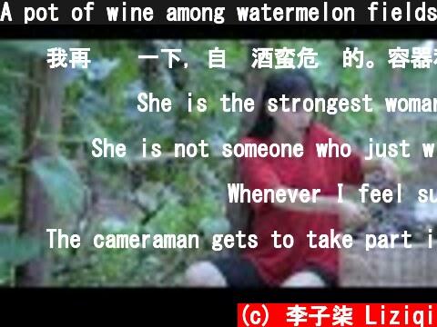 A pot of wine among watermelon fields.So…The life of watermelons and grapes?瓜间一壶酒,西瓜和葡萄的一生?丨Liziqi  (c) 李子柒 Liziqi