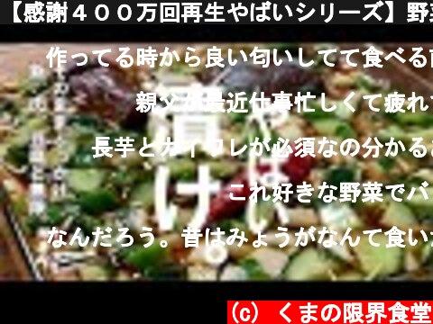 【感謝400万回再生やばいシリーズ】野菜を切って漬けるだけで、大量にたべられてしまう。~おまけ付~  (c) くまの限界食堂